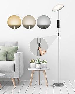 Anten Lampadaire Salon LED 30W, Lampadaire Sur Pied Dimmable 3000-5000k, Avec Télécommande Tactile, LED Lampe Sur Pied Cha...