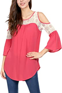 Women's 3/4 Bell Sleeves Loose Cold Shoulder Casual Lace Panel Top