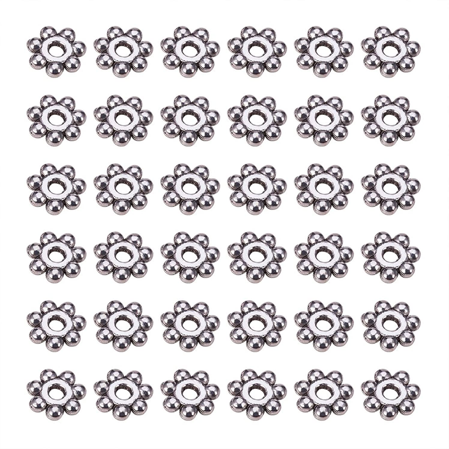 Pandahall 200pcs Antique Silver Tone Retro Style Christmas Snowflake Daisy Spacer Beads for Bracelets DIY jewelry Making, Lead Free Cadmium Free & Nickel Free, about 4mm in diameter, 1.5mm thick, hole: 1mm