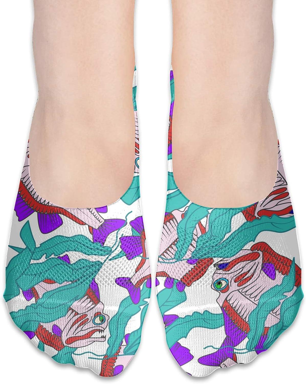 Piranha Comfortable Boat Socks-Sweat Wicking Non-Slip Socks Leisure Sports Deodorant Foot Socks