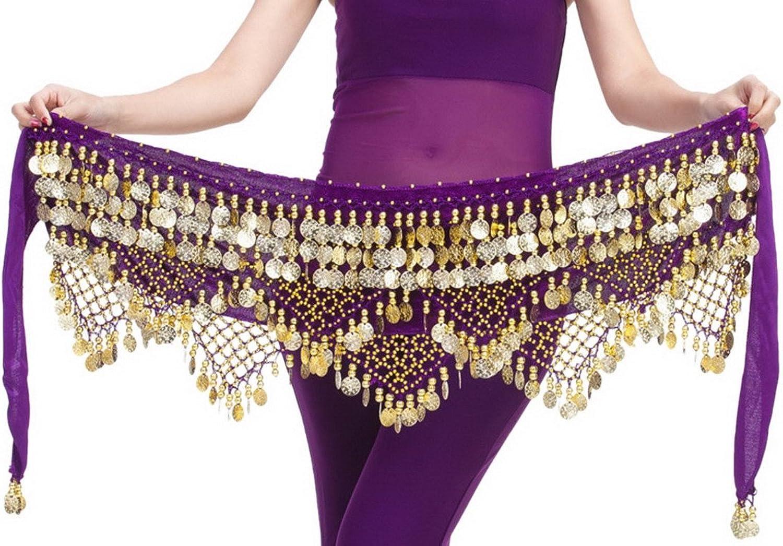 Aivtalk Women Belly Dance Hip Scarf Coins Velvet Belly Dance Belt 320 Coins
