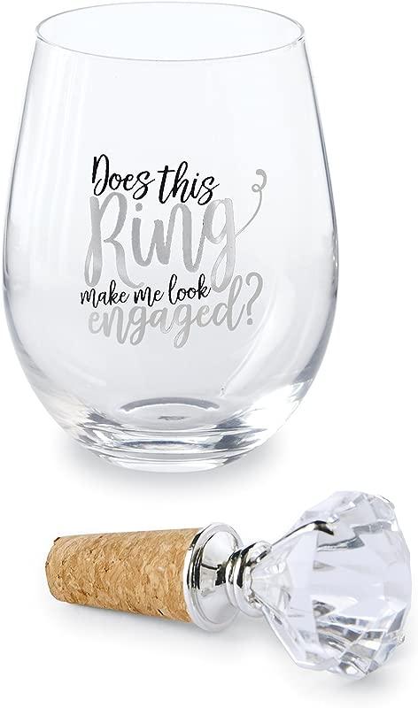 Mud Pie Ring Make Me Look Engaged Stemless Wine Glass 16 Oz