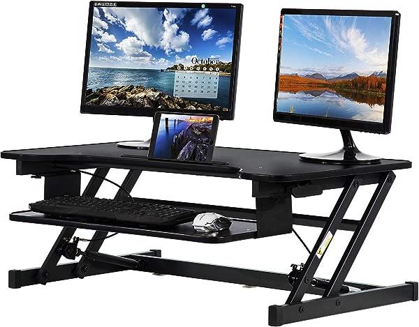 立式办公桌转换器电脑工作站可调高度办公桌家用办公室办公桌坐支架办公桌双笔记本电脑监视器立管 32 英寸