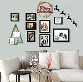 Art Street Mix Size Set of 8 Wall Photo Frame with Merry Christmas Theme Ring & Christmas Photo Hanging Tree