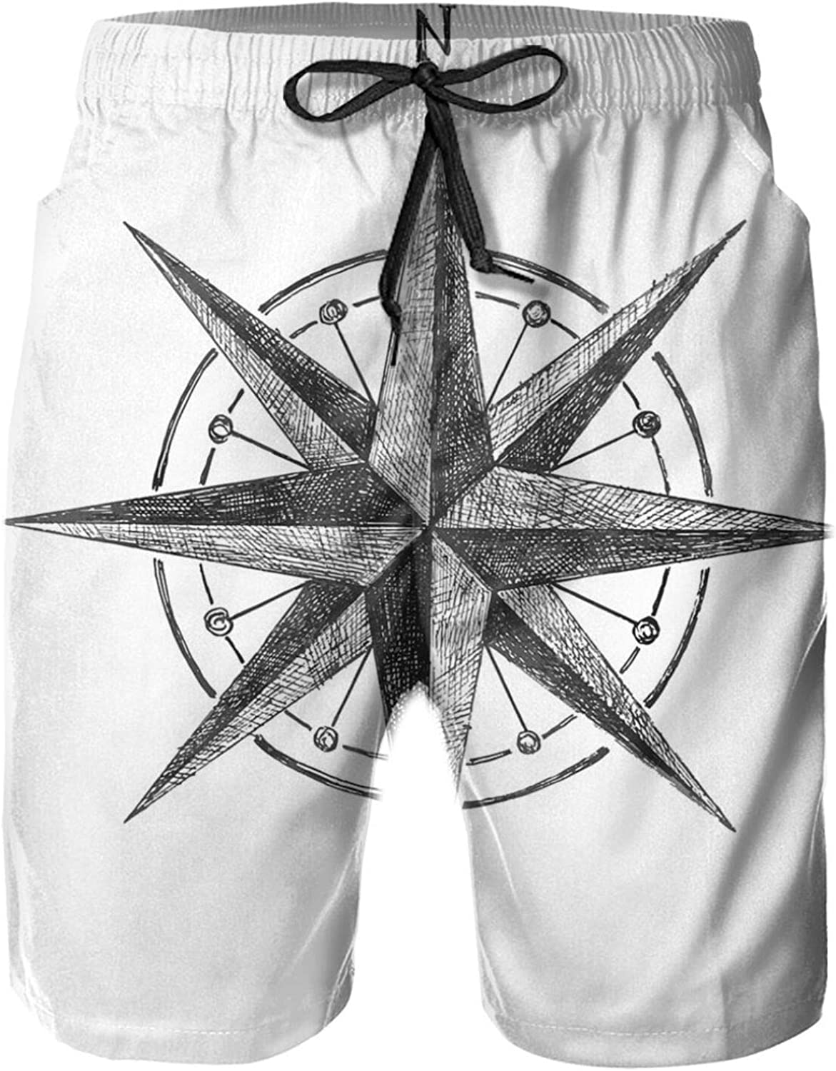 Seamanship Hand Drawn Windrose with Complete Directions North South West Swimming Trunks for Men Beach Shorts Casual Style,M