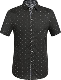 SSLR Men's Printing Button Down Casual Short Sleeve Shirts