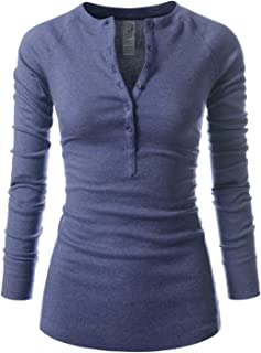 NEARKIN Beloved Womens Slim Cut Raw Edge Long Sleeve Henley Tshirts