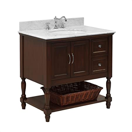 Beverly 36-inch Bathroom Vanity (Carrara/Chocolate): Includes Chocolate Cabinet with Authentic Italian Carrara Marble Countertop and White Ceramic Sink