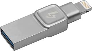 Kingston Bolt USB 3.0 Flash drive Memory Stick for Apple iPhone & iPads with iOS 9.0+, External Expandable Memory Storage, DataTraveler Bolt Duo, Take more photos & videos, 128GB – Silver