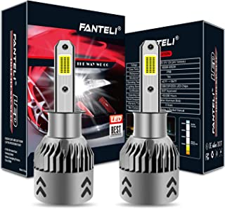 FANTELI H3 LED Headlight Bulbs All-in-One Conversion Fog Driving Lights Foglights Kit - 72W 8000LM 6000K Xenon HID Cool White Replacement Extremely Bright -Adjustable Beam Pattern - 5 Years Warranty