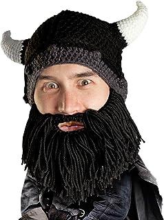 Beard Head Viking Looter Beard Beanie - Funny Knit Horned Hat and Fake Beard