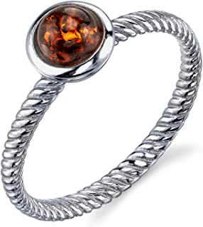 Sterling Silver Baltic Amber Ring with Cognac Color Cabochon and Twisted Band Design 5-9