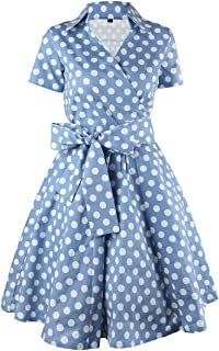 Womens Polka Dot Dresses,50s Style Short Sleeves Rockabilly Vintage Dress