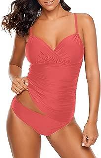 Women's Ruched Wrap Front Tankini Set 2 Piece Swimsuit Beachwear