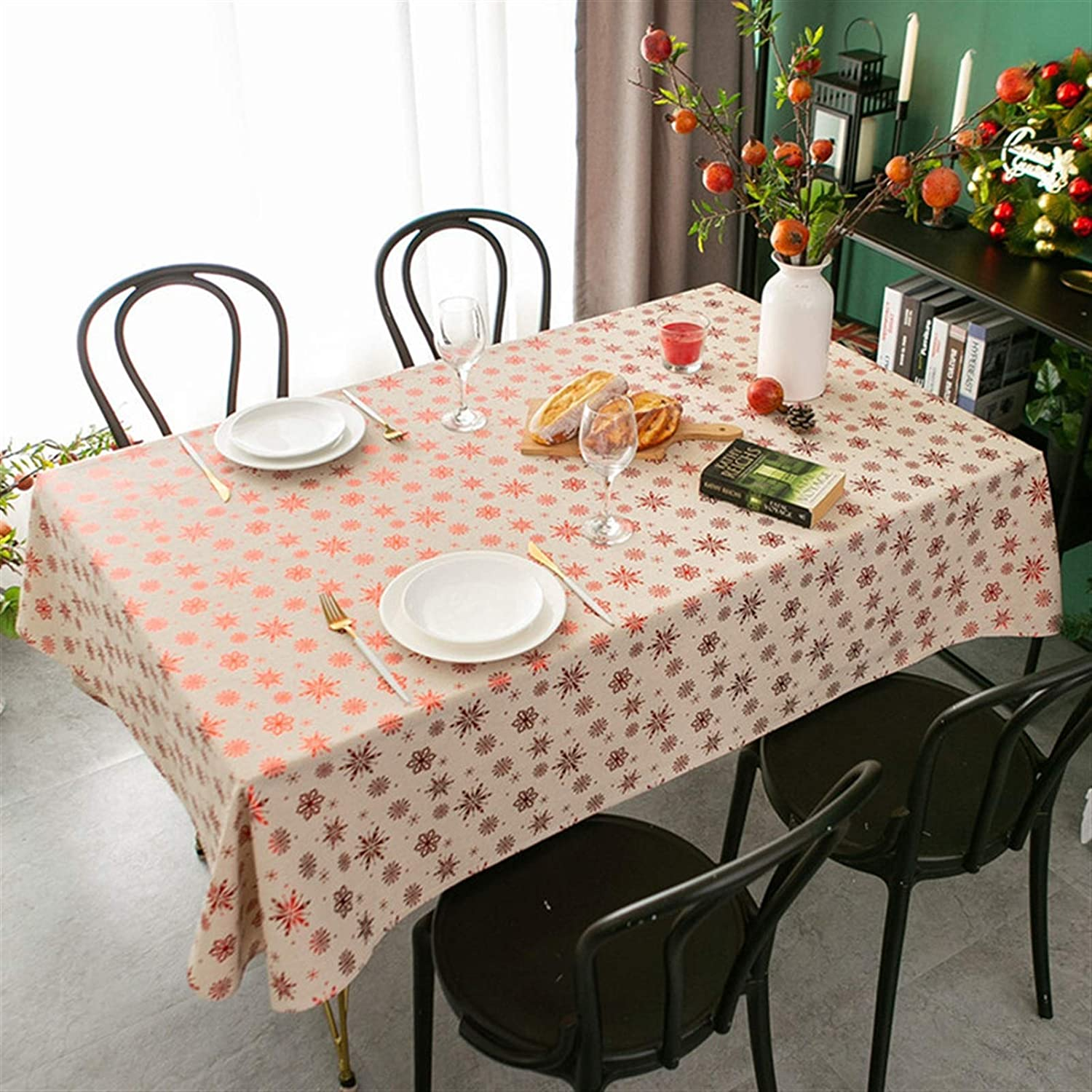 New Year Direct stock discount Christmas Table Cloth Street Year-end gift Snowflake Hot Cotton Linen