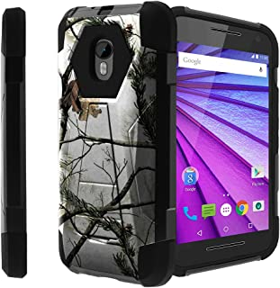 Untouchble Case for [ Motorola Moto G 3rd Generation Hard Case| Moto G3 Case] Tough Rugged Shell Shockproof Hybrid 2 Layer Case with Kickstand Case - Snow Hunt Camo