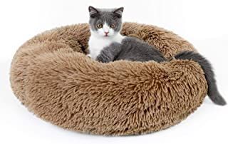 rabbitgoo Cat Bed for Indoor Cats, Soft Plush Donut Cuddler Cushion Pet Bed, Fluffy Round Bed for Improved Sleep, Self War...