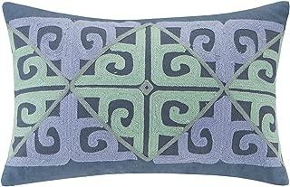 Echo Design Kamala Fashion Cotton Throw Pillow, Global Inspired Embroidered Oblong Decorative Pillow, 12X18, Indigo