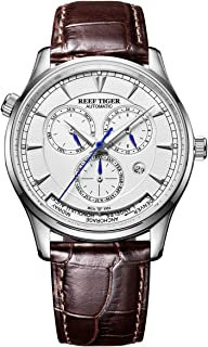 Reef Tiger World Time Watches Men's Casual Watch Complicated Dial Leather Strap Watches RGA1951