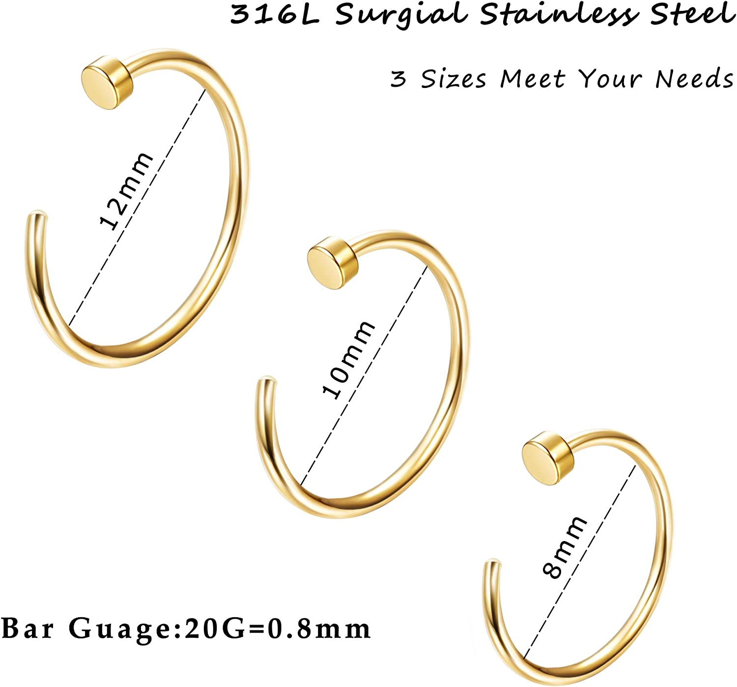Drperfect 20G 36PCS 316L Stainless Steel Nose Ring Hoop Nose Piercing Jewelry for Women and Men