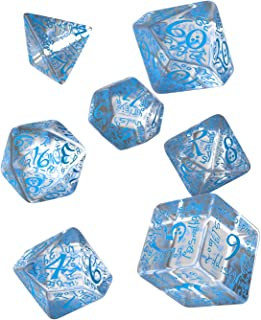 (Transparent & Blue) - Q-Workshop - Set of Transparent & Blue Elvish Dice by Q-Workshop