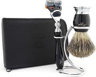 Haryali London Męski zestaw do golenia 5-krawędziowa maszynka do golenia z czystym czarnym borsukiem szczotka do golenia w...