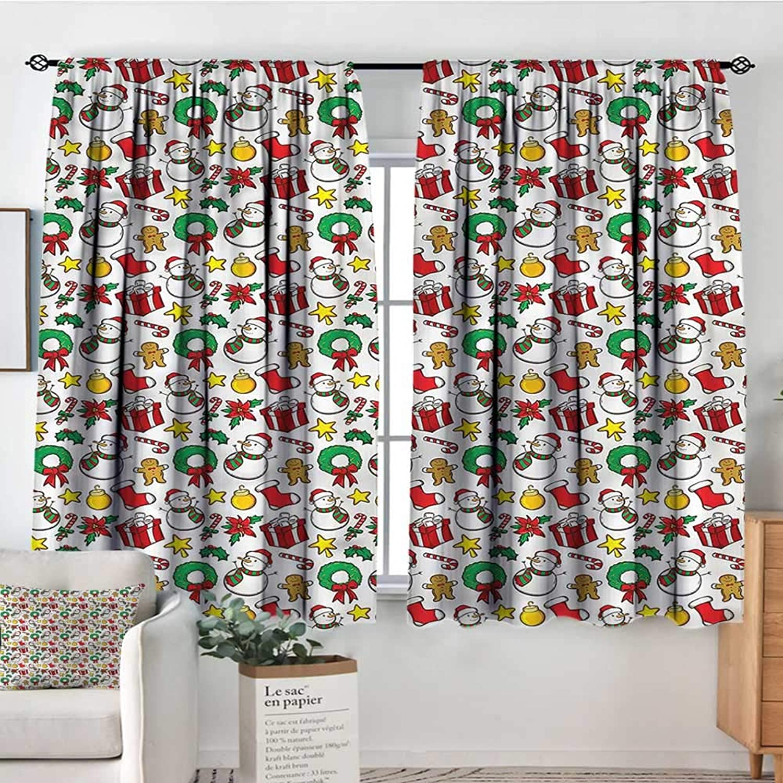 RenteriaDecor Christmas,Backout Drapes Festive Celebration 42 X63  Backout Curtains for Baby Bedroom