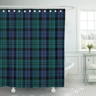Emvency Shower Curtain Tartan Black Watch Plaid Kilt Patterns Scottich Scottish Shirting Waterproof Polyester Fabric 60 x 72 inches Set with Hooks