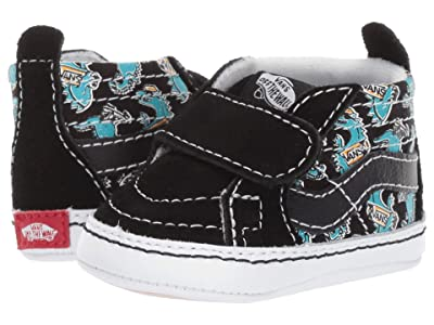 Vans Kids SK8-Hi Crib (Infant/Toddler) ((Vanosaur) Black/True White) Boys Shoes