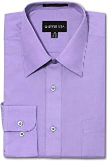 G-Style USA Men's Regular Fit Long Sleeve Solid Color Dress Shirts - Lilac - X-Large - 32-33