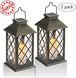 SHYMERY Solar Lantern,Outdoor Garden Hanging Lantern,Set of 2,Waterproof LED Flickering Flameless Candle Mission Lights for Table,Outdoor,Party Decorative