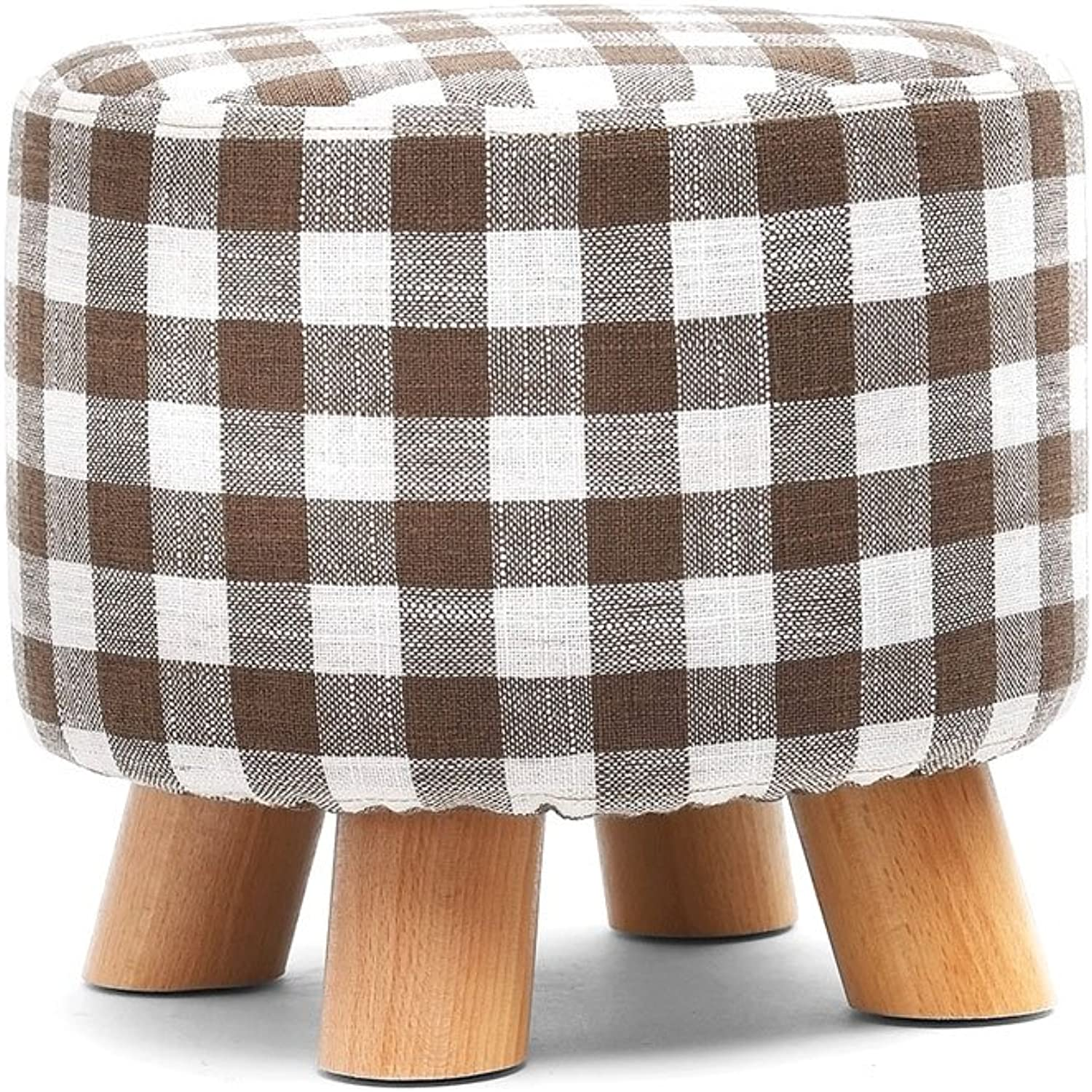 Household shoes Bench Living Room Coffee Table Stool Fabric Sofa Stool Solid Wood Low Stool Round Adult Bench Fashion Creativity Pure color Lattice Footstool (color   D)