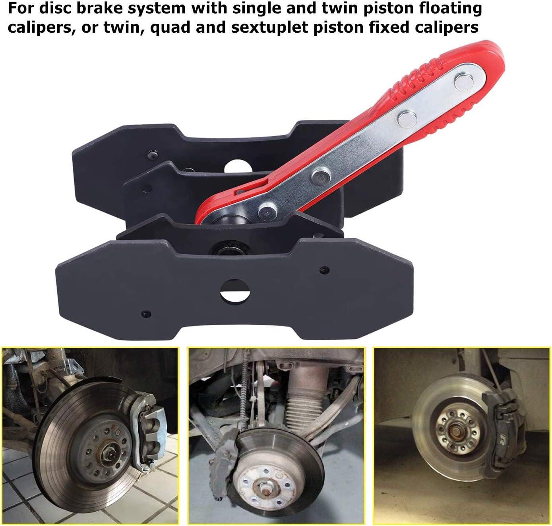 JOJOY LUX Brake Caliper Press Tool, 360 Degree Swing Ratchet Expander Wrench Car Wheel Piston Spreader with Extra 2PCS Large Plates for Single Twin Quad Sextuplet Piston Disc Brake Caliper
