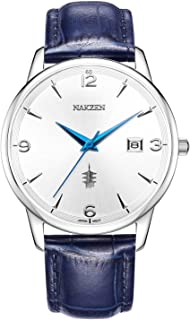 Men Business Watches, NAKZEN Quartz Waterproof (Fashion, Simple, Casual) Wristwatch, Design Leather Band Strap Wristwatchs for Men Gift