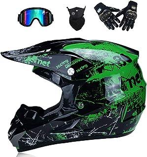 CHEYAL Adult Motocross Helm MX Motorradhelm ATV Scooter ATV Helm D. O. T Zertifiziert Rockstar Multicolor Mit Brillen Handschuhe Maske S, M, L, XL,S
