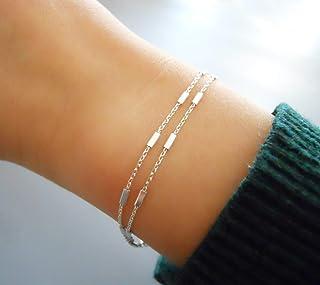 Handmade Dainty Double Stranded Sterling Silver Bracelet