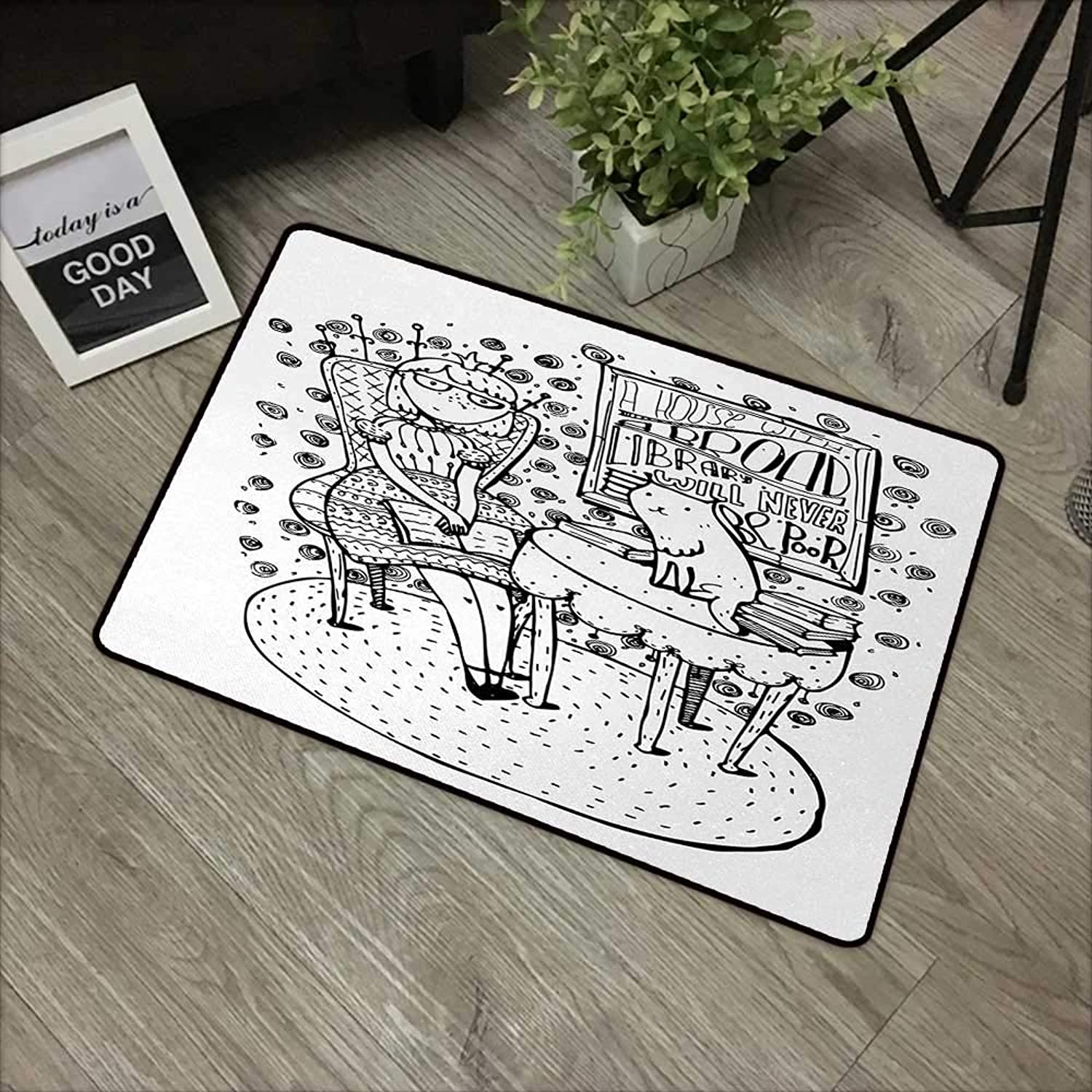 Square Door mat W35 x L59 INCH Book,Cartoon Style Hand Drawn Girl Sitting with a Book and Cat Glasses Crown Happy Cat,Black White Non-Slip, with Non-Slip Backing,Non-Slip Door Mat Carpet