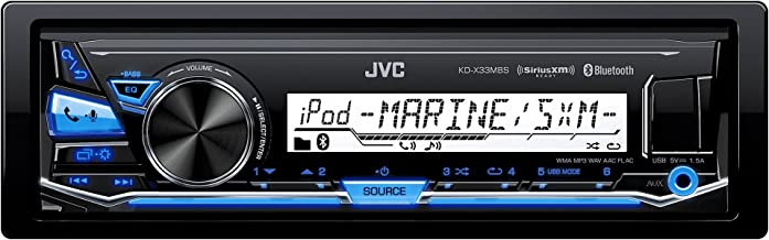 JVC KD-X33MBS Single DIN Marine Grade Bluetooth In-Dash Mechless Car Stereo