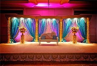 Leyiyi 10x8ft Vintage Indian Wedding Room Backdrop Luxury Marriage Mandap Background Stage Curtain Sofa Pillows Flowerpots Traditional India Custom Religious Portrait Studio Prop Vinyl Wallpaper