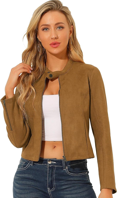 Allegra K Women's Faux Suede Jacket Stand Collar Zip Up Long Sleeve Motorcycle Biker Coat