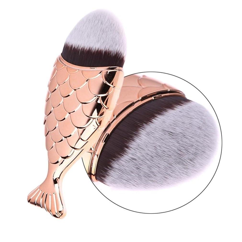 臭いパズルカーペットフェイスブラシ Vander チークブラシ 人気 化粧筆 ファンデーション ブラシ 2本 マーメイドブラシ キャップ付き (ローズゴールド)