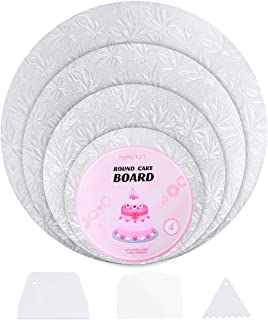 Hemoton 4Pcs Reusable Thicker Cake Cardboards with Embossed Foil Wrapping and 3 Scrapers for Cake Decoration Wedding Birthday Party 12