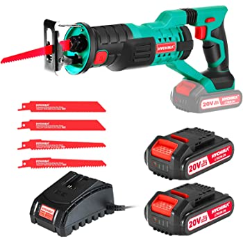 """HYCHIKA Cordless Reciprocating Saw Sawzall 20V 2Ah 2 Batteries 4 Saw Blades, 0-2800SPM Variable Speed, 7/8"""" Stroke Length Tool-Free Blade Change LED Light for Wood Metal Cutting Pruning"""