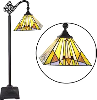 VINLUZ Tiffany Style Arched Floor Reading Lamp 1 Light 11-inch Mission Multied-Colored Stained Glass Shade in 62-inch Tall Floor Standing Lamp for Bedroom Living Room Office