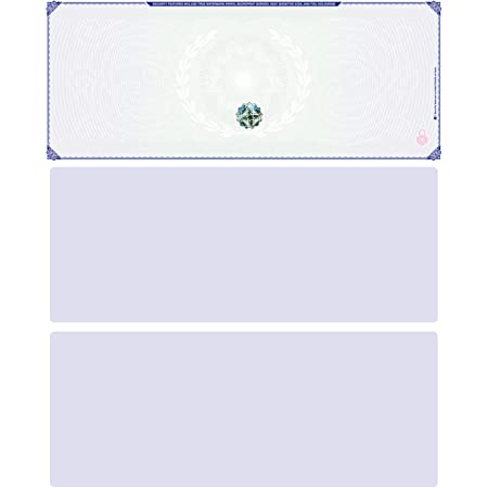 Blank Hologram Premium Computer Checks, Top High Security Laser Checks with Perforated Vouchers, Qty. 500 Blue Green