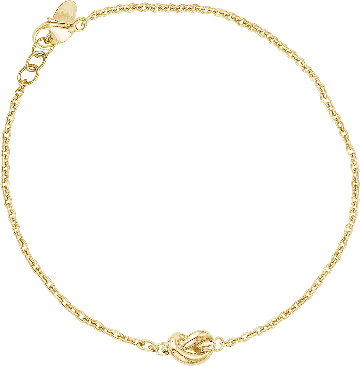 14k Yellow, White, or Rose Pink Gold Small Endless Love Amore Knot Charm Chain Bracelet 7