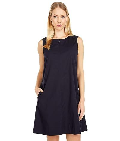 Eileen Fisher Petite Zip Neck Knee Length Dress (Ink) Women