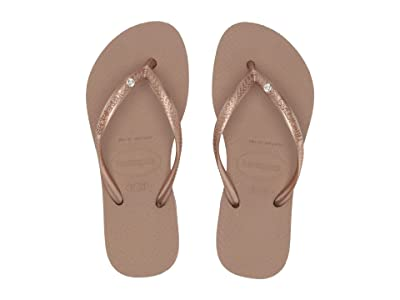 Havaianas Kids Slim Crystal Swarovski(r) Flip-Flop (Toddler/Little Kid/Big Kid) (Rose Gold) Girls Shoes