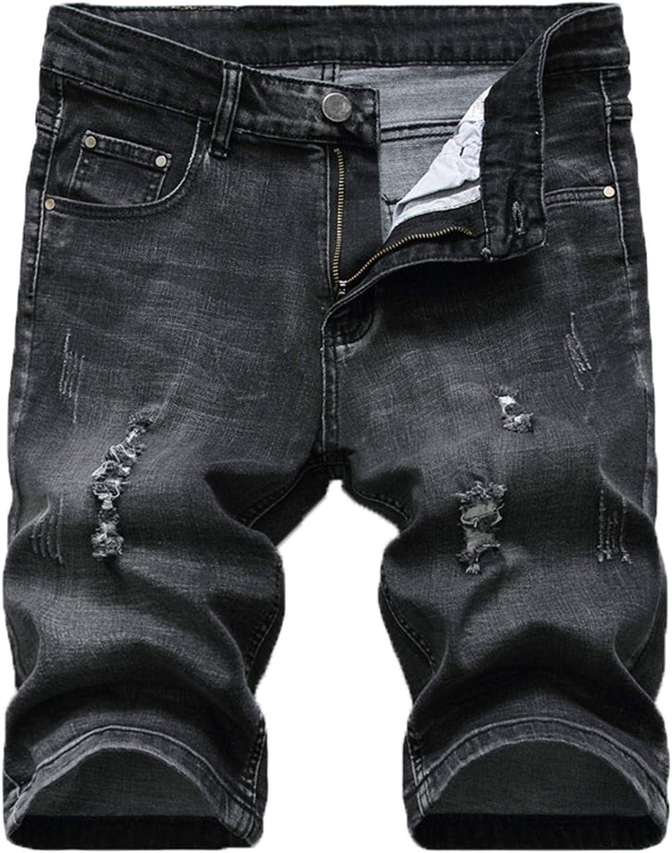Yiqinyuan Summer Denim Shorts Men Stretch Slim Fit Short Jeans Cotton Casual Distressed Black Shorts Knee Length Shorts