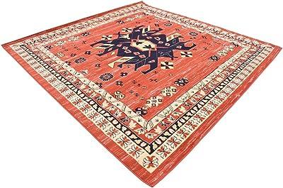 Unique Loom Taftan Collection Geometric Tribal Terracotta Square Rug (8' 0 x 8' 0)